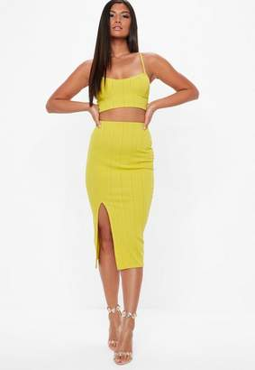 Missguided Yellow Bandage Side Split Midi Skirt