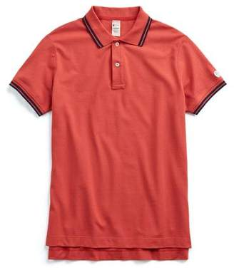 Todd Snyder + Champion Short Sleeve Tipped Pique Polo in Faded Red