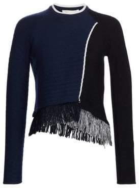 Jonathan Simkhai Fringe Wrap Wool Sweater