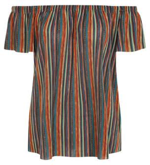 George Woven Stripe Bardot Top