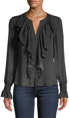 Go Silk Go Get Ruffled Up Button-Front Blouse