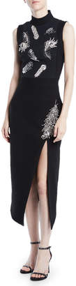 David Koma Mock-Neck Sleeveless Feather-Embroidered Side-Slit Cocktail Dress