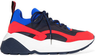 Stella McCartney Eclypse Faux Leather, Faux Suede And Neoprene Sneakers - Red