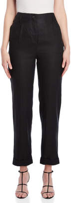 Roberto Collina Black High-Waisted Linen Pants