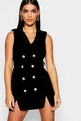 boohoo Velvet Sleeveless Blazer Dress