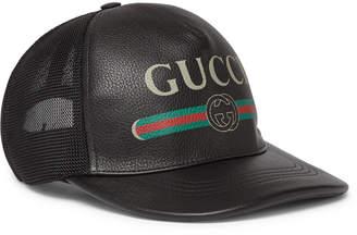 Gucci Logo-Print Leather and Mesh Baseball Cap