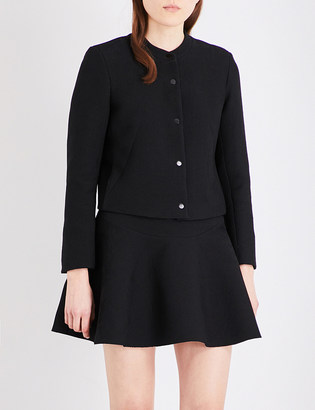 Sandro Collarless woven jacket $295 thestylecure.com