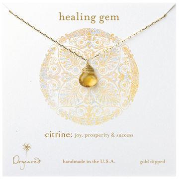Dogeared Golden Citrine Pendant Necklace