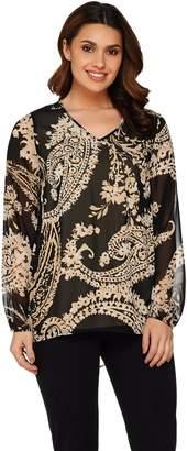 Susan Graver Printed Sheer Chiffon Top w/ Liquid Knit Tank Set