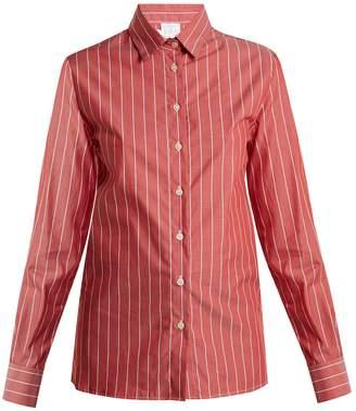 Stella Jean Point-collar striped cotton shirt