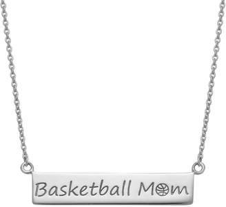 """Sterling Silver """"Basketball Mom"""" Bar Necklace"""