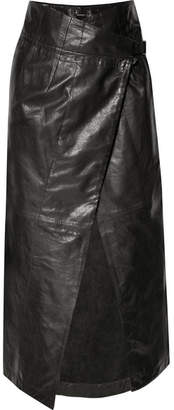 Ann Demeulemeester Leather Wrap Midi Skirt - Black