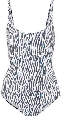 Marios Schwab On The Island By Gialos Leopard-print Swimsuit - Blue