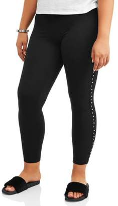 Eye Candy Junior's Plus Super Soft Brushed Leggings with Pearl Side Detail