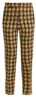 Rochas Geometric Print Wool Blend Trousers - Womens - Green Multi
