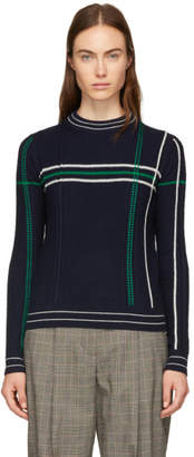Carven Navy Grid Stripe Sweater