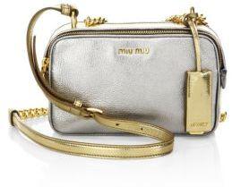Miu MiuMiu Miu Two-Tone Metallic Madras Leather Double-Zip Crossbody Bag