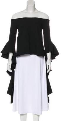 Ellery Drape-Accented Long Sleeve Top