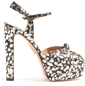 Aquazzura Evita 130 Leopard Platform Sandals - Womens - Black Gold