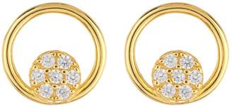 Argentovivo 18K Gold Plated Sterling Silver Open Circle CZ Pave Earrings