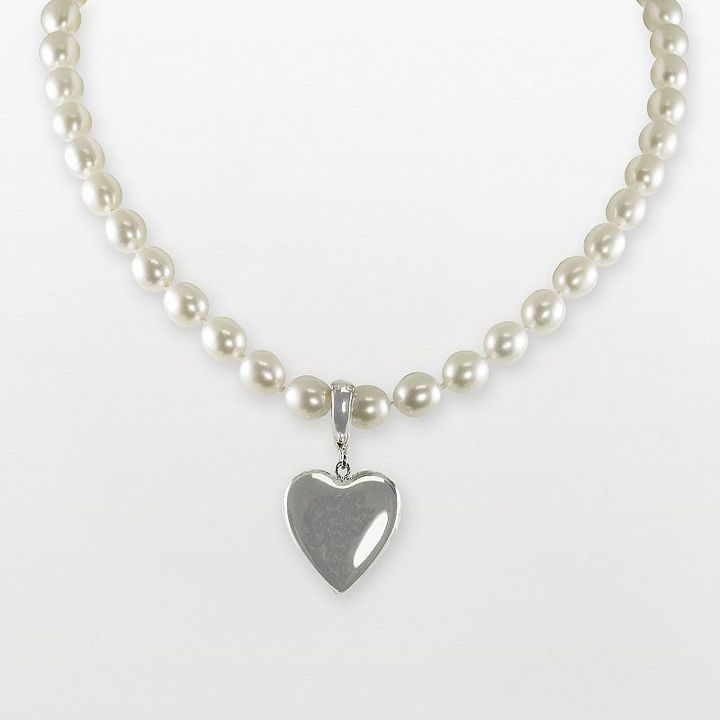 Sterling silver heart locket and freshwater cultured pearl necklace