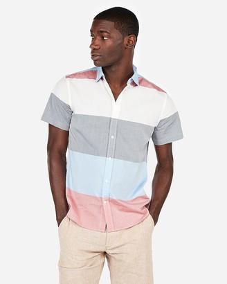 Express Slim Stripe Short Sleeve Shirt