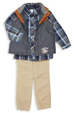 Nannette Little Boy's 3-Piece Cotton Jacket, Plaid Button-Down Shirt & Pants Set