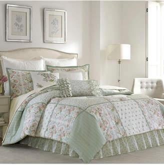 Laura Ashley Queen Harper Green Comforter Set Bedding
