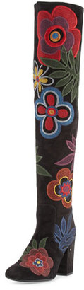 Laurence Dacade Embroidered Suede Over-The-Knee Boot, Black/Multicolor $1,195 thestylecure.com