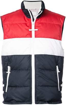 Thom Browne Three Panel Downfilled Funnel Collar Ski Vest In Mini Ripstop