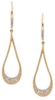 Diamond and 14K Rose Gold Teardrop Earrings, 0.25 TCW