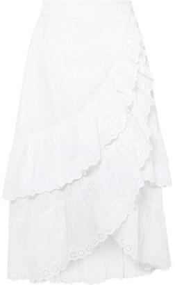 LoveShackFancy Halle Ruffled Broderie Anglaise Cotton Wrap Skirt - White