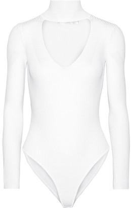Cushnie et Ochs - Cutout Ribbed Stretch-knit Bodysuit - White $695 thestylecure.com
