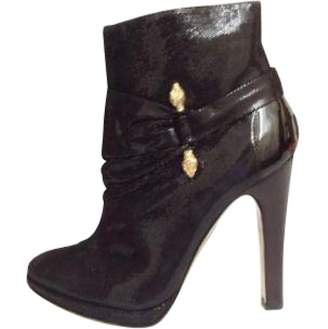 Roberto Cavalli Black Patent leather Ankle boots