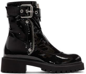 Giuseppe Zanotti Black Patent Combat 25 Boots
