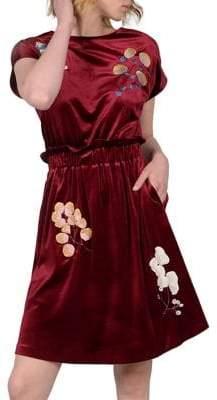 Molly Bracken Premium Embroidered Velvet Skater Dress