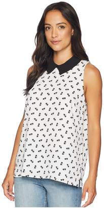 CeCe Sleeveless Collared Star Palm Ditsy Blouse Women's Blouse