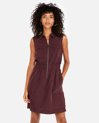 Express Zip Front Elastic Waist Shirt Dress