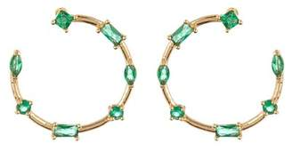 14th & Union Large Multi Stone Stud Hoop Earrings