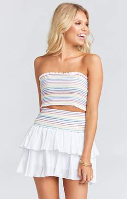 Show Me Your Mumu Frolick Ruffle Skort ~ White Cruise with Rainbow