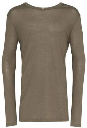 Lot 78 Lot78 khaki green long sleeve cashmere blend t shirt