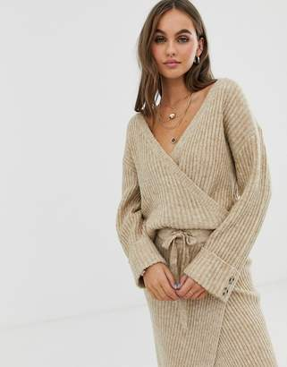 Pieces wrap knitted sweater two-piece