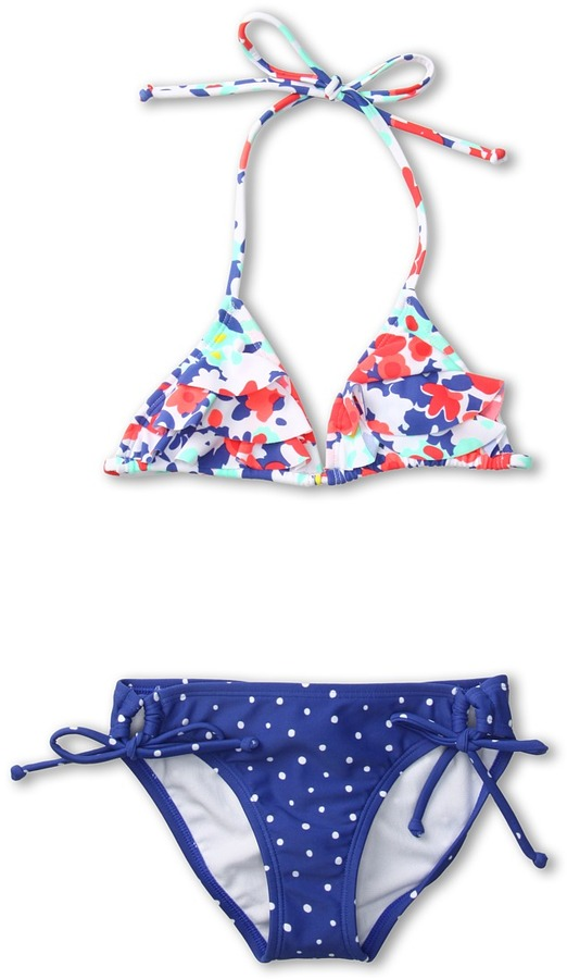 Roxy Kids - Blooming Bliss Ruffle Tiki Triangle Set (Big Kids) (Sea Salt) - Apparel