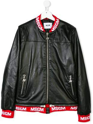 MSGM Kids TEEN leather bomber jacket