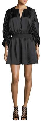 Parker Rissa Drawstring-Sleeve Silk Satin Short Dress