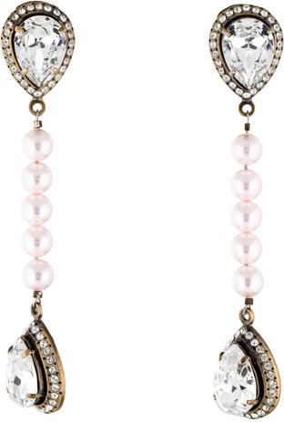 ValentinoValentino Pearl & Crystal Clip-On Drop Earrings