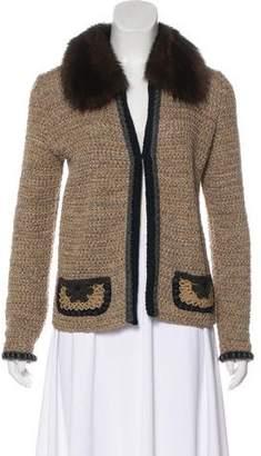 Prada Fur Trimmed Cardigan