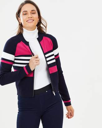 Karen Millen Stripe Zip-Up Cardigan