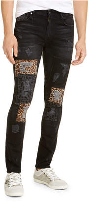 GUESS Men Skinny Fit Leopard Patch Jeans