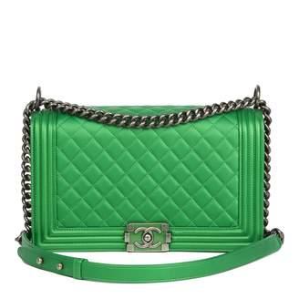 Chanel Boy Green Leather Handbag